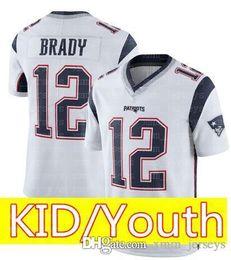 142cf46a2 Kid 12 Tom Brady 87 Rob Gronkowski Jersey Youth KIDS New Patriots Football  Jerseys 52 khalil Mack 2 Matt Ryan
