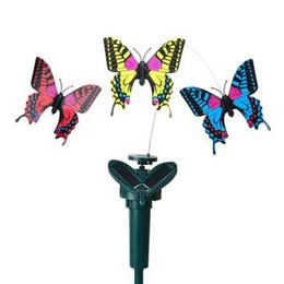 2019 großhandel solargarten neuheiten Solar Rotating Fliegen Simulation flatternder Schmetterling Vibration Hummingbird Fliegen Garten-Yard-Dekoration lustige Spielwaren