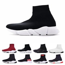 2019 calcetines múltiples balenciaga sock  shoes Diseñador calcetines zapatos para hombres mujeres Speed Trainer de lujo negro blanco rojo brillo plana moda para hombre entrenadores Runner tamaño 36-46 calcetines múltiples baratos