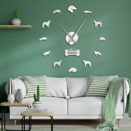 2019 regali all'ingrosso dell'insegnante Borzoi effetto specchio Adesivi Numbers Tempo Clock russo Wolfhound decorazioni grande parete fai da te Orologio Russkaya Psovaya Borzaya Gif