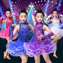 2019 mädchen latin röcke Kinder Latin Dance Rock Kostüme neuen Stil Mädchen Latin Dance Wettbewerb Kleid Quaste Pailletten Performance Kleidung günstig mädchen latin röcke