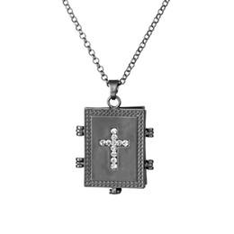 Jesus lockets on-line-Preto fosco na moda cristo jesus strass cruz medalhão colar dos homens em expansão de memória amante foto medalhão pingente colares