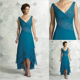 89df06afa7c Elegant Mother Of The Bride Dresses V Neck Pleated Beading Chiffon Tea  Length High Low Turquoise Women Party Dress Prom Dresses affordable mother  ...