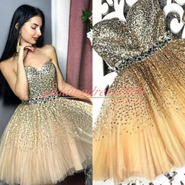 b8d0f1071ea Sparkling Beads Sequins Gold Homecoming Dresses for Juniors Crystal Plus  Size Short Prom Dress Party Ball Gowns Graduation Club Wear Cheap