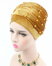 turban party hijab Sconti Cappelli per feste Velvet Pearl Turban Bonnet Tube scarf Hat Hijab Hair Loss Chemo Headwear Pleated Long Head Wrap Hijab Cap