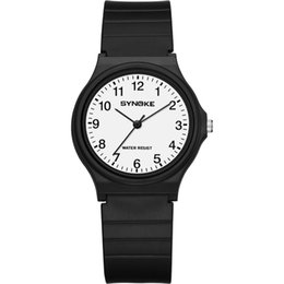 Пластиковые часы мужские онлайн-SYNOKE Women Watches Fashion Simple Quartz Watches Plastic Band Light Casual Round Waterproof Chic Watch Women Men Ladies Watch