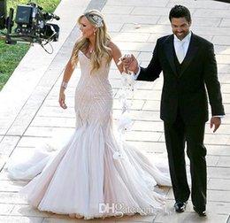 moda saias puffy Desconto 2019 Nova Beaded Sereia Vestidos De Noiva Espaguete Corpete Grandes Contas Puffy Saia Elegante Casal Moda Vestidos De Noiva 791