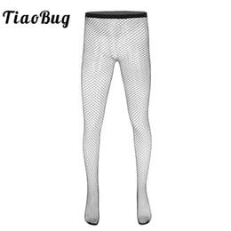 2019 sexy schwarze leggings TiaoBug Black Fishnet Hohl Durchsichtig Elastische Taillenstrumpfhose Leggings Stretchy Pantyhose Hot Erotic Sexy Men Sheer Stockings günstig sexy schwarze leggings