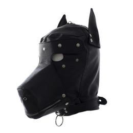 Máscara de perro negro online-Realista imitación de cuero perro Fetiche Sexo máscara del partido atractivo de la pista de perro Bondage Campana Negro Animal máscara de Halloween para adultos Bar Trajes Puntales