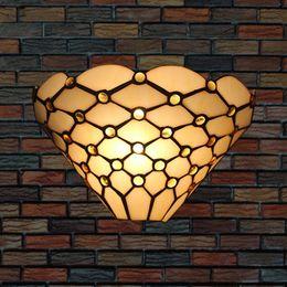 Tiffany lampada da parete industriale camera da letto comodino aplique pared led applique da parete vintage bar soggiorno perline di vetro decorazione riparo della parete da interruttori lucidi cromati fornitori