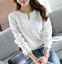 frauenstickerei plus bluse Rabatt Frauen Neue Ankunft Frühling Grundlegende Chiffon Bluse Shirts Damen Spitze Solide Langarm Casual Tops Stickerei Plus Größe SH190829