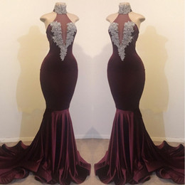 Ilusões de veludo on-line-2019 HigH Pescoço Sereia De Veludo Longo Vestidos de Baile Illusion Lace Applique Frisado Sweep Trem Vestidos de Noite Vestidos De Festa
