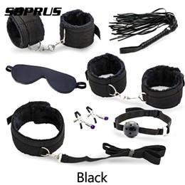Детские игрушки для мальчиков онлайн- new 4 color 7pc/Set Plush Adult Couple Sex Toy Restraint Handcuffs Collar Mask Whip hot