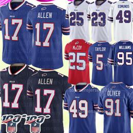 Футбольная майка lesean mccoy онлайн-Buffalo Bills # Джерси 17 Джош Аллен 49 Tremaine Edmunds Джерси 91 Oliver 25 LeSean McCoy 12 Джим Келли Тейлор Томас Tyrod Футбол