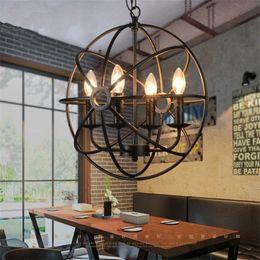 Lustre de ferro preto vintage on-line-Pendant Metal Light Globe Retro Vintage industrial lustres Suspensão da lâmpada Preto Rust Ferro Pingente luz de vela E14 E12 para o café loja