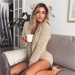 Плюс размерные боди онлайн-2019 новых женщин с капюшоном с длинным рукавом Плюшевые Комбинезон Плюс Размер Мода искусственного меха Твердая Теплый Bodysuits Осень Зима Повседневный Rompers