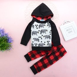Xadrez hoodie on-line-Baby Boy Animais Hoodie da criança Conjuntos Tops + Pants 2PCS Set Geometric Roupa do bebê manga comprida xadrez Boy Clothes