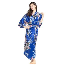 2019 chinesisches kimono-bademantel Neue Ankunft weibliche gedruckte Blumen lange Kimono Kleid Kleid chinesischen Stil Rayon Robe Nachthemd Blume S M L XL XXL XXXL 20160601 rabatt chinesisches kimono-bademantel