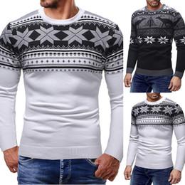 2019 maglioni di neve di natale Puimentiua Men Christmas Knitting Maglione Autunno Casual Snow Print Maglione 2018 Moda manica lunga O collo Slim Fit Pullover Top sconti maglioni di neve di natale