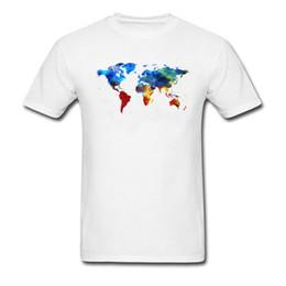Maglietta del cotone degli uomini di nuovo arrivo della mappa variopinta del mondo 2018 Maglietta del bicchierino del manicotto del bicchierino del manicotto su ordinazione di modo nero bianco da