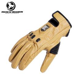 Gants de roche en Ligne-ROCK BIKER Moto Vintage gants en cuir écran tactile coupe-vent hommes noir jaune gants guantes moto luva motocross S ~ XXL