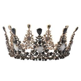 2019 coroas redondas para noivas 1 PC Retro Headband Da Noiva Rodada Strass Barroco Princesa Coroa Acessórios Para o Cabelo Headpiece Hairband Tiara Headwear coroas redondas para noivas barato