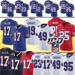 Lesean mccoy jersey di calcio online-17 Josh Allen Buffalo 91 Oliver 49 Tremaine Edmunds fatture Jersey 34 Thurman Thomas 25 LeSean McCoy 95 Kyle Williams pullover di football
