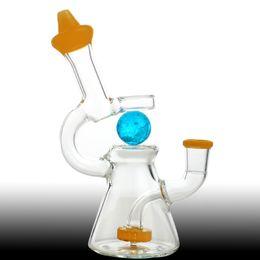 Мини-стеклянные шарики онлайн-Мини-стеклянный бонг высотой 7 дюймов с шаром светящимся 14 мм шарниром Recyler Dab Rig Percolator с вращающимся стаканом