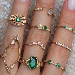 9 teile / satz Übertrieben Royal Retro Zirkon Grün Edelstein Joint Ring Set Frauen mode Böhmischen Strand Gold Geometrische Ring Schmuck von Fabrikanten