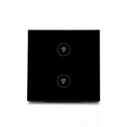Venda quente Controle Remoto Wifi Switch Enabled Painel De Vidro De Cristal Para Smart Home Automation / 2 Gang Switch de Fornecedores de 12v led push button