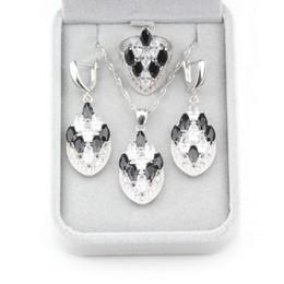 31f879282b6c Black Cubic Zirconia Fabulous 925 Juegos de joyas de plata Pendientes    Collar   Colgante   Anillo Tamaño 6 7 8 9 10 Para mujeres Regalo