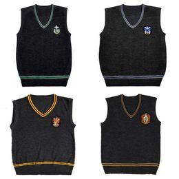 2020 schulpullover Harry Potter Pullunder V-Ausschnitt Magic School Weste Slytherin Gryffindor Ravenclaw Cosplay Pullover Männer Frauen Uniform Pullover günstig schulpullover