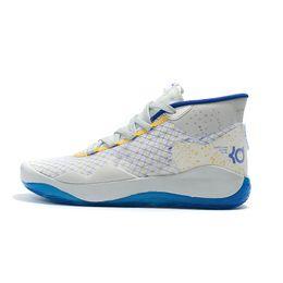 Дешевые Mens kd 12 баскетбольные кроссовки Warriors Home White Blue новые мальчики девочки 90-х годов дети kd12 кевин дюрант xii кроссовки теннис с размером коробки 5 13 от