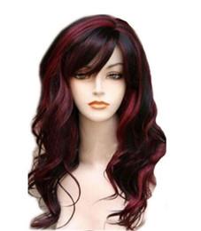 Rouge chimique en Ligne-Coiffure en fibres chimiques multicolore naturelle rouge et noire avec de longs cheveux bouclés
