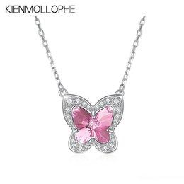 krytal halsketten Rabatt KIENMOLLOPHE Rosa Crytal reale 925 Sterlingsilber-Anhänger-Halsketten für Frauen Schmetterling Insekt Fine Jewelry