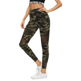 2019 malha perneiras Multicolor Malha Inserir Camo Impressão Leggings Esportivo Patchwork Sheer Crop Calças Mulheres Outono Athleisure Leggings desconto malha perneiras