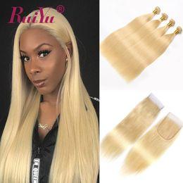 peruanischen geraden gewebeverschluss Rabatt RUIYU 613 Blonde Bundles Mit Verschluss Gerade Menschliche Haarwebart 3 Bundles Mit Verschluss Peruanische Remy Haareinschlagfäden Mit Verschluss