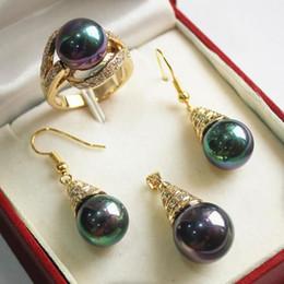 2019 bagues nobles nouveau bijoux noble violet 18KGP + 12mm shell perle pendentif, boucle d'oreille,, ensemble de bague bagues nobles pas cher