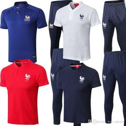 Traje de uniforme de fútbol online-nuevo 2019 2020 Frances Veste de Football GRIEZMANN Entraînement de Football Costume qualité français POGBA Survêtement survetement Maillot