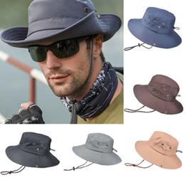 angepasste hüte Rabatt New Style Männlich Männer Bucket Hats Angeln Wandern Cap Wide Brim UV-Schutz Fischerhut Solide String Geschenk Adjust Mode 2019 Hot
