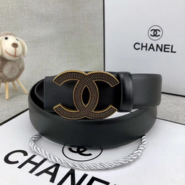 men belt genuine leather design Promo Codes - Hot sale design belt men high quality genuine leather belt trousers Alloy buckle gold buckle without box A-044a