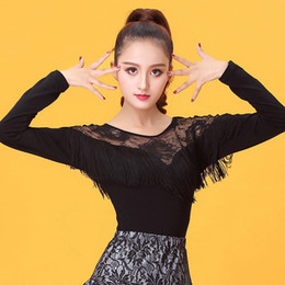 costume latino del merletto nero Sconti Nero Fringe Piani per Latin Dance Dress manica lunga Donna T-Shirts Lace Concorso Costume prestazione del vestito Samba Salsa 303
