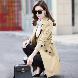 2019 xs mujer abrigo largo coreano KMETRAM 2019 Otoño Capa de Primavera de Las Mujeres de Corea Trench Coat para Mujeres Rojo Abrigos Largos Tallas grandes 5xl 6xl Chaqueta Mujer MY2309 rebajas xs mujer abrigo largo coreano