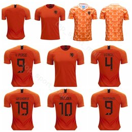 Футбольная команда апельсинов онлайн-Нидерланды Джерси 2019 2020 мужчины футбол 9 PERSIE 4 VIRGIL 19 WEGHORST 10 SNEIJDER 9 MEMPHIS футбол рубашка комплекты униформа команда оранжевый