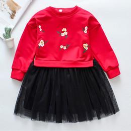 vestidos de cumpleaños niña invierno Rebajas 2019 Winter Baby Kids Girl Dress Manga larga Baby Girls Vestido de malla bordado Fiesta de cumpleaños Niñas pequeñas Ropa casual