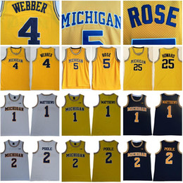 jersey de basket-ball michigan Promotion NCAA Michigan Wolverines 5 Jalen Rose Jersey Chris Webber 4 Juwan Howard 25 1 Charles Matthews 2 Jorda Poole College Basketball Jaune Hommes