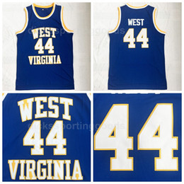 2019 camisetas de baloncesto transpirable NCAA College Basketball 44 Jerry West Jersey Hombres University West Virginia Mountaineers Jerseys Transpirable para los fanáticos del deporte Envío Gratis camisetas de baloncesto transpirable baratos
