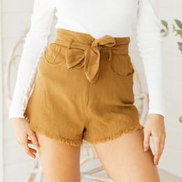 pajarita jeans Rebajas Melegant Bow Belt Solid Shorts para mujer Bolsillos Cinturón Tie Shorts Burr Solid Casual Verano 2019 Jeans femeninos