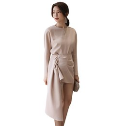 cbb8a601105f casual clothing woman summer suit set women's clothing set khaki round neck  long sleeve top + buttoned ruch asymmetrical skirt