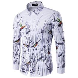 luva longa da flor do pássaro Desconto Moda-Flores Aves Imprimir Homens Camisa de Marca Roupas de Lapela Camisa Masculina de Manga Comprida Camisas Casuais Dos Homens